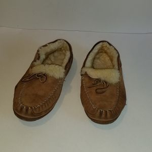 Lands' End leather slippers. Fur lining.